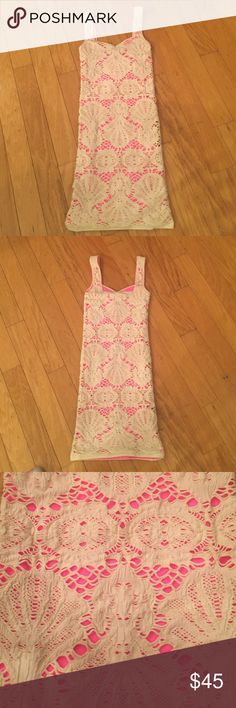 Sexy Free People lace dress  Off white lace overlay over hot pink neoprene, size xs/s Free People Dresses Mini
