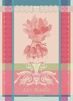 "Garnier Thiebaut, Radis (Radishes) Rose, 22 by 30"", French Kitchen Towel, 100%…"