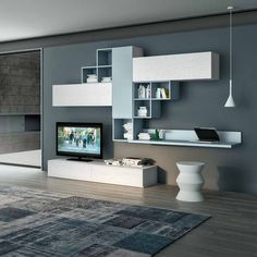 Contemporary TV unit composition Domino by Favero, features 2 wooden base units, 3 wall mounted units, wall mounted bookcase elements and a wall mounted shelf. image