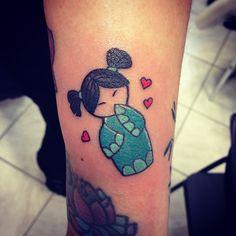 Done a few months ago! #tatts #tattoo #tattoos #tattooing #ink #smalltattoo #littletattoo #kokeshi #kokeshijapan #kokeshitattoo #doll #dolly #flash #tattooflash #walkinday #dolltattoo #color #colortattoo #instalike #instagram #apprentice #japan #japantattoo