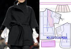 Modelo belo e elegante, o grau de dificuldade deste molde casaco capa que proponho nesta publicação não é muito elevado. No blogue existe diversas bases.
