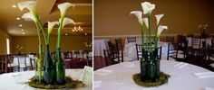 use old wine bottles for a single Calla Lily - great wine party centerpiece.