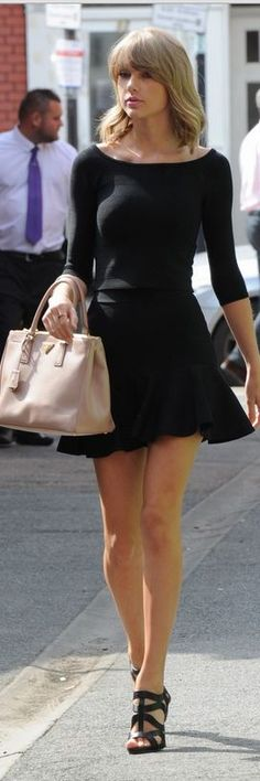 Who made Taylor Swift's tan handbag, boat sleeve top, and flare skirt that she…