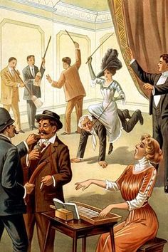 Hypnotist directing group of people to do unusual activities: woman playing washboard, woman riding man, men using brooms as musical instruments, policeman using sausage as weapon