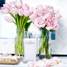 Pretty details from my vanity today  Pink roses & tulips and my new favorite fragrance for Summer! Love how soft & feminine it is @Nordstrom #Nordstrom @liketoknow.it www.liketk.it/1uxEQ #liketkit