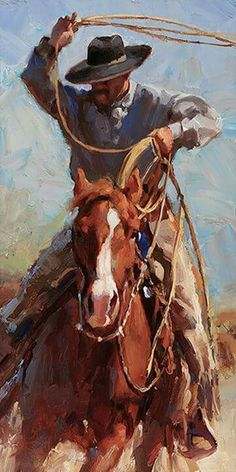 """The Range Roper"" by Jason Rich (Cowboy Artist) Cowboy Horse, Cowboy Art, Western Cowboy, Arte Equina, Cowboy Pictures, West Art, Ecole Art, Cowboys And Indians, Le Far West"