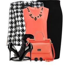 A fashion look from March 2014 featuring Raoul blouses, Balmain blazers and Roland Mouret skirts. Browse and shop related looks.