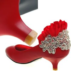 Comfortable Red Leather Low Heel Wedding Bridal Party Evening Shoes  SKU-1090792