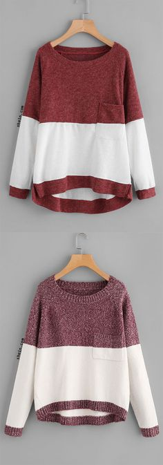 Color Block Dip Hem Sweatshirt