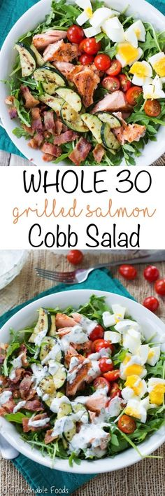 Whole30 Grilled Salmon Cobb Salad Pin