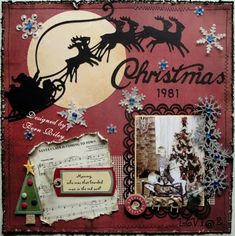 Christmas layout - love Santa and his reindeer! Which looks like is from a cricut cart. I have!