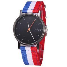 Sale 11% (7.29$) - Men Women Casual Navy Stripe Canvas Band Wrist Watch