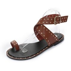 53e1a556a92 Leather gladiator sandals with studs   cross over straps Gladiator Flats