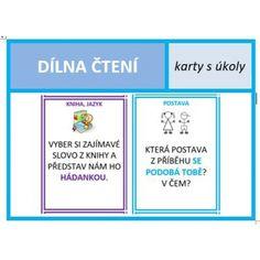 Úkoly na kartách pro dílnu čtení English Classroom, Games For Kids, Montessori, Language, Author, Teaching, Activities, Education, School