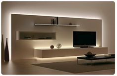Most recent designs and pleasing TV wall designs. Living room tv Alcove S… Most recent designs and pleasing TV wall designs. House Design, Room Design, Interior, Home Decor, House Interior, Strip Lighting, Interior Design, Living Room Tv Wall, Living Room Designs