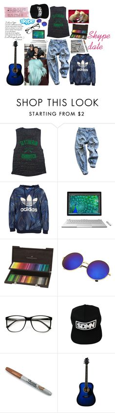 """""""Skype Date"""" by the-real-river-song ❤ liked on Polyvore featuring Levi's, adidas Originals, Microsoft, ZeroUV, Sharpie and Love Quotes Scarves"""