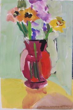 Gouache - Linda Hunt Fine Art Watercolor Paper, Watercolor Paintings, Original Paintings, Red Vases, Gouache Painting, Colorful Paintings, American Artists, Painting Inspiration, Rainbow Colors