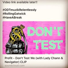 BRAND SPANKING NEW!   DON'T TEST WE....   SNEAK PREVIEW OF THE NEW SINGLE FROM Florian Achatzy & Martin Hewing aka  @PROFIT_BERLIN with LADY CHANN & Navigator taken from the -NEVER TROUBLE EP- coming soon to the wuurrlll..  Video link available later!!   #ODTmuzikRelentlessly #RollingGatwick #HaveABreak  http://soundcloud.com/your_profit/01-profit-dont-test-we-with