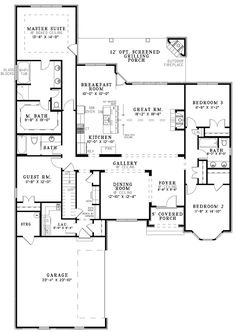 Open One Story House Plans | The House Designers' Design House Plans for New Home Market