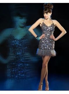 USD$167.99 - Sexy Sweetheart Halter Short Sequins and Feather Cocktail Dresses 2013 - www.27Dress.com