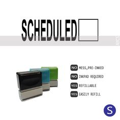 SCHEDULED, Pre-Inked Office Stamp, 761914-G