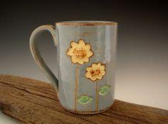 Tall Sunflower Mug in Rustic Blue  Coffee Mug by DirtKickerPottery, $28.00