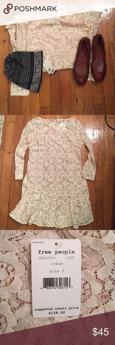 NWT Free People Walking To The Sun Dress In Cream Free People's little lace dress is sheer genius thanks to an eye-catching geometric floral design and a fit-and-flare silhouette that's ready to party at a moment's notice. Dress is sheer Cotton/nylon Hand wash Imported Boat neck, three-quarter sleeves, sheer lace Ruffled rounded hem, pullover style 31 inches shoulder to hem Free People Dresses Mini