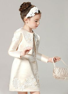 Champagne Flower Girl Dress Outfit A Line Flower Applique Beaded Knee Length Pag. - Champagne Flower Girl Dress Outfit A Line Flower Applique Beaded Knee Length Pageant Dress With Jacket Source by jilienfield - Wedding Dresses For Girls, Girls Party Dress, Little Girl Dresses, Wedding Party Dresses, Baby Dress, Girls Dresses, Pageant Dresses, Lace Wedding, Bridesmaid Dresses
