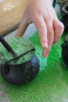 Bubbling Potions - Halloween themed playful science for kids. So much fun! My kids will love this.