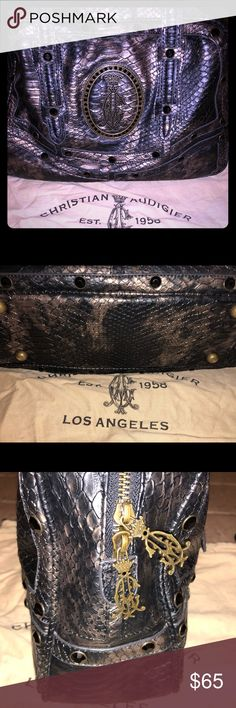 🎉🎉🎉AUTHENTIC AND EXCELLENT CONDITION HANDBAG🎉 🎉🎉🎉STUNNING BEAUTIFUL AUTHENTIC HANDBAG 👜 🎉🎉🎉MEASUREMENTS IN PICS . RHINESTONES ARE SO MUCH PRETTIER IN PERSON! COMES WITH DUST-BAG!  OFFERS WELCOME IN OFFER AREA 🎉🎉🎉🎉 Christian Audigier Bags