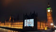 BrewDog gail porter bum pr stunt houses of parliament Hanging Artwork, Glass Artwork, Gail Porter, Stained Glass Light, Faux Window, London Landmarks, Houses Of Parliament, Glass Texture, Strip Lighting