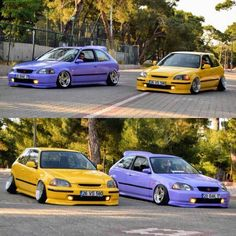 Purple and Yellow ek hatchback Voiture Honda Civic, Honda Civic Coupe, Honda Civic Hatchback, 2000 Honda Civic, Honda S, Civic Eg, Slammed Cars, Honda Accord Ex, Street Racing Cars