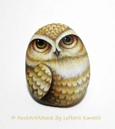 Hand Painted Pebble Pretty White Owl Is Painted by RockArtAttack