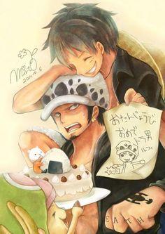 """LuffY,  Law et Beepo """"ChiBi"""" ~ Luffy Monkey D. • Law Tafalgar • Beepo {l'ours} ~ ⚓️ One Piece ⚓️"""