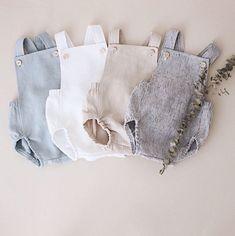 Handmade Unisex Linen Baby Rompers | RockyRacoonApparel on Etsy