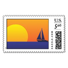 Sunset and Sailboat Postage Stamps. This great stamp design is available for customization or ready to buy as is. Of course, it can be sent through standard U.S. Mail. Just click the image to make your own!
