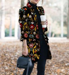 Autumn Winter Printed Long-Sleeved Coat – #coat #coatsjacketsvests #coatsjackets #coatsforwomen