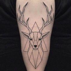 Ideas For Geometric Art Deer Tattoo Ideas Geometric Wolf Tattoo, Geometric Deer, Geometric Tattoo For Guys, Trendy Tattoos, Small Tattoos, Tattoos For Guys, Hirsch Tattoos, Reindeer Tattoo, Stag Tattoo