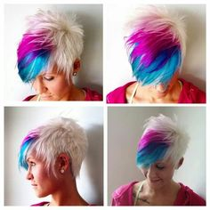 White blue and pink pixie