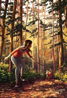 Go Get It Parker!, an art print by Yaoyao Ma Van As - Illustration art Illustration Art Nouveau, Illustration Mode, Illustrations, Me And My Dog, Girl And Dog, Little Dog Names, Rick Y Morty, Art Watercolor, Photo Images