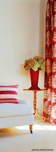 . Accent Colors, Color Accents, Colors Of Fire, Red Home Decor, Red Bedding, White Cottage, Shabby Chic Decor, E Design, Colorful Decor