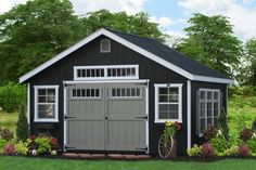 E40-4201 - Custom Built Classic Shed  Paint: Black, Trim: White/Clay, Roof: White - Options: Extra Windows, Transome Windows, Classic Vents and Ridge Vent