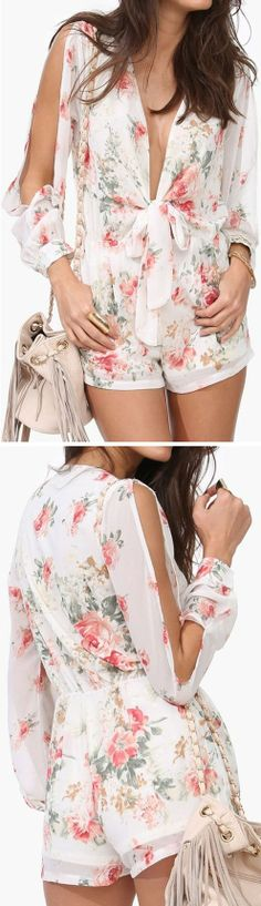 Split Sleeve Floral Jumper // not so low cut but I like the rest