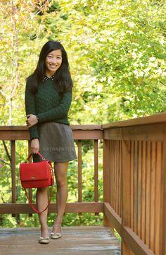 green sweater @Extra Petite Blog