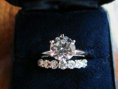 Round Diamond Solitaire Engagement Ring And Diamond Wedding Band
