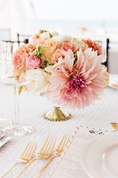 Daydreaming of Dahlias: Romantic Floral Wedding Ideas - wedding centerpiece idea; Harrison Studio