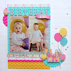 Chevron Layout Inspiration - Birthday Girl Layout by Candace Zentner using sparkly Sugar Coated Chevron Cardstock from Doodlebug Design