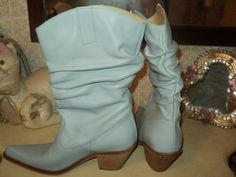 WESTERN-COWBOY-BOOTS-034-FOOTLOOSE-034-LEATHER-LIGHT-BLUE-PLEATED-EU38-US7-UK5-SPAIN