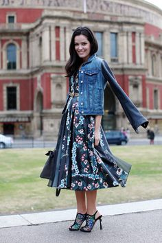 sweet florals//street denim+leather // Street Style: Mariah Maia, Blogger, #LFW