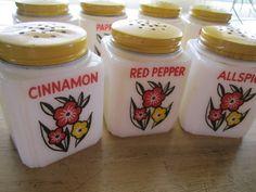 7 vintage Milk Glass Spice Shakers